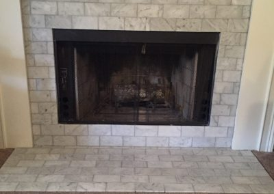 tile installation fireplace